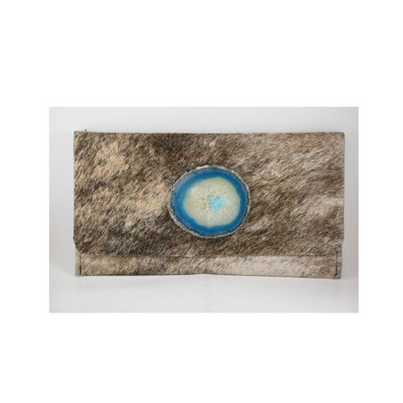 Krava Haircalf with Blue Stone Clutch - Beige