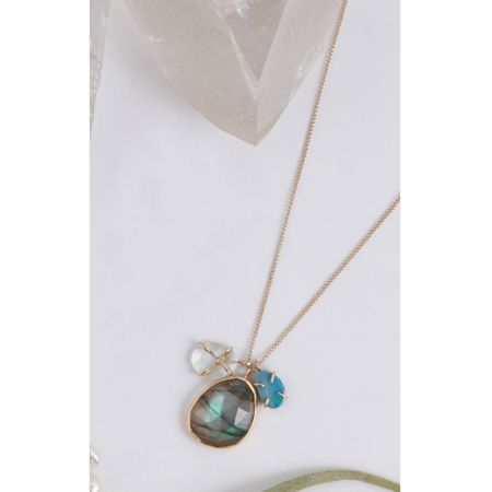 Melissa Joy Manning Necklace - 14K Yellow Gold/SS Aquamarine/Labradorite/Opal