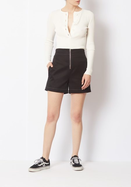 Her Line Twin Stitch Shorts - Black