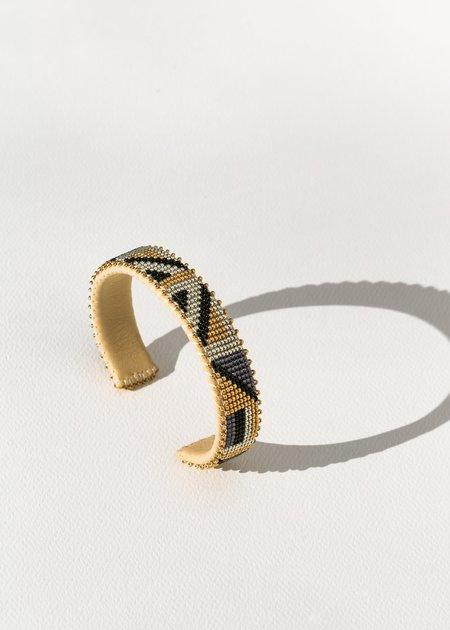 Etkie Hendrix Glass Cuff - gold/black/sand