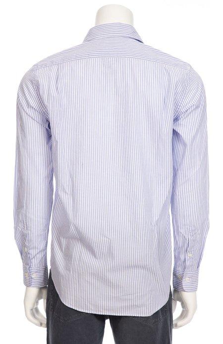 HARTFORD/AUBREY COMP Penn Woven Long Sleeve Button Down Shirt - White/Blue