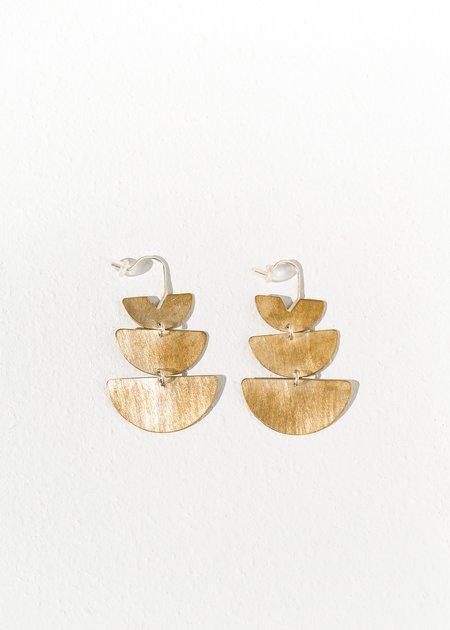 Lumafina Short Lunar Earrings - Brass