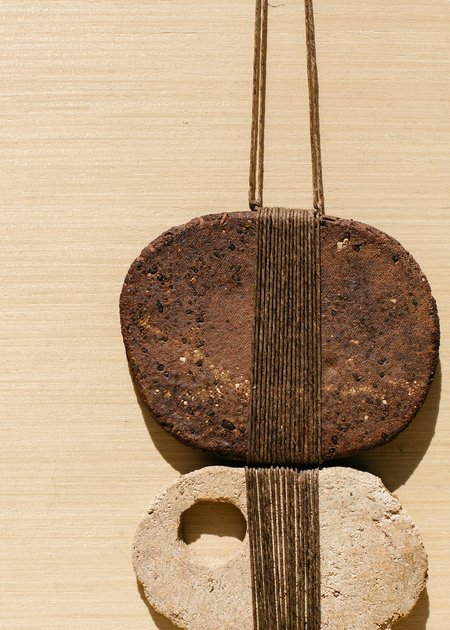 Amy Dove Stoneware & Linen Wall Sculpture - Brown