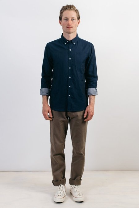 Bridge & Burn Sutton Double Cloth Shirt - Navy