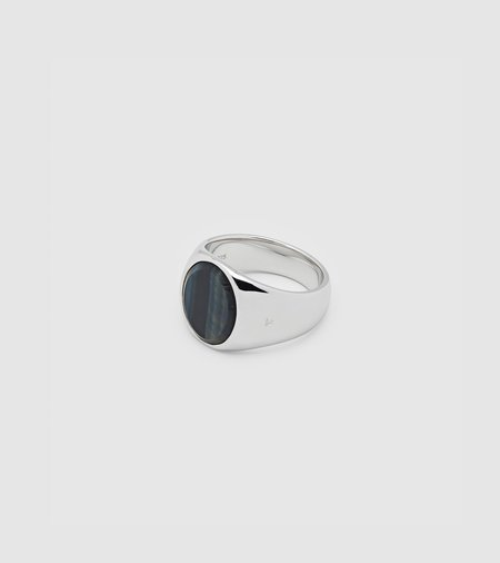 Tom Wood Oval Signer Ring - Blue Hawk Eye
