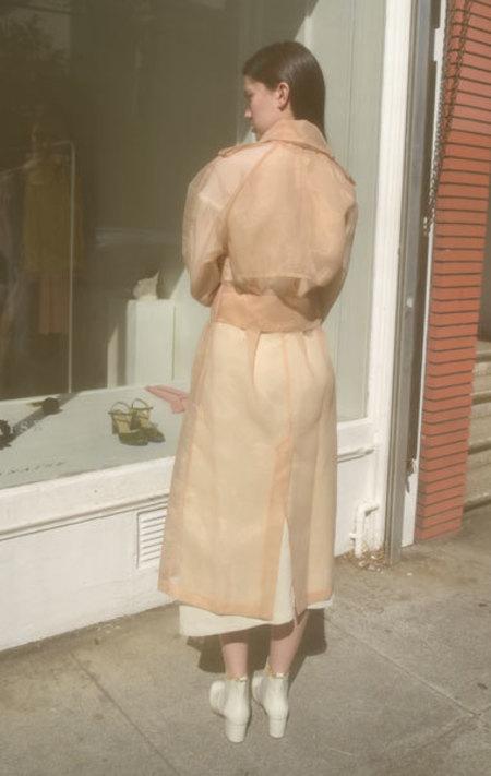 Wanda Nylon Brook Organza Trench Coat - Nude