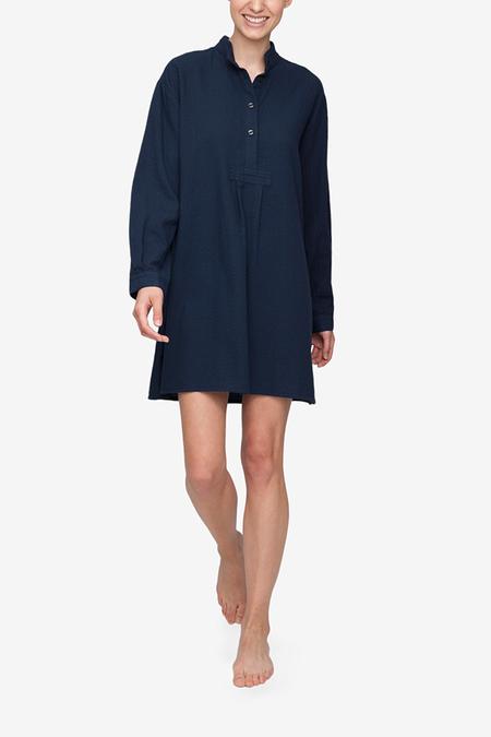 The Sleep Shirt Short Sleep Shirt - Navy Bouclé