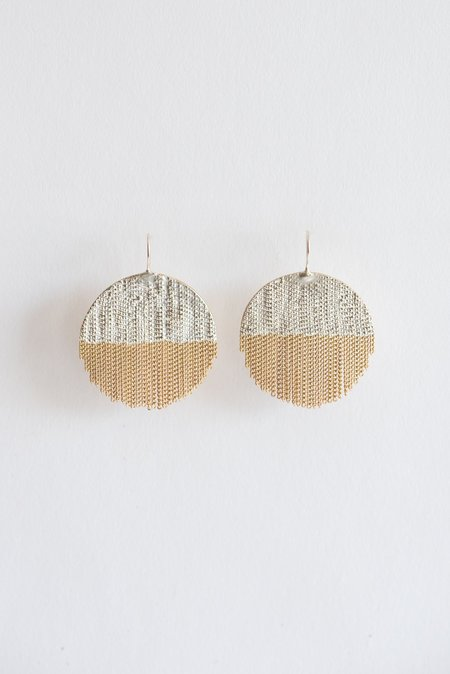 Hannah Keefe Large Half Circle Earring with Fringe - Silver/Brass