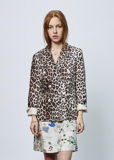 La Prestic Ouiston Double Breasted Silk Blazer - Classic Panther