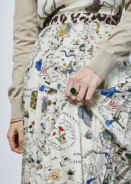La Prestic Ouiston Gabrielle Pleated Skirt - map print