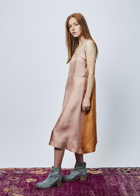 La Prestic Ouiston Rosa Silk Slip Dress - Pink/Orange