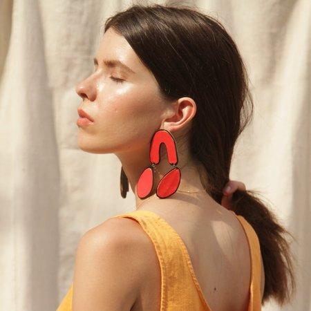 Molly VA Made Big Drop Earring - Red