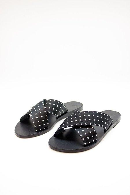 Ancient Greek Sandals Thais Polka Dot Sandal - black/white