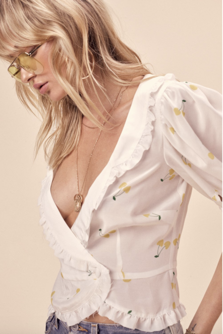 FOR LOVE & LEMONS ASHLAND WRAP BLOUSE - cherry print