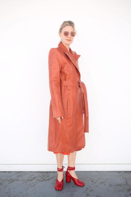 Lorod Horween Leather Long Coat - Rust