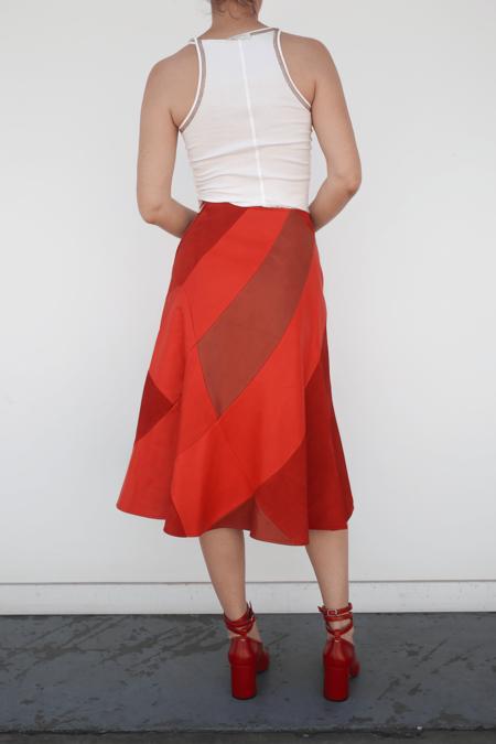 Lorod Horween + Suede Patchwork Skirt - Rust/Burnt Orange