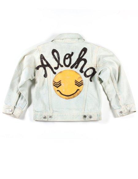 Kids L.A.S Collective Vintage Leather Stitched Aloha Jean Jacket - 6T