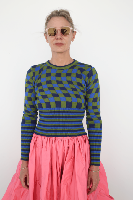 Molly Goddard Cropped Jumper w/ Long Rib  - Navy/Green
