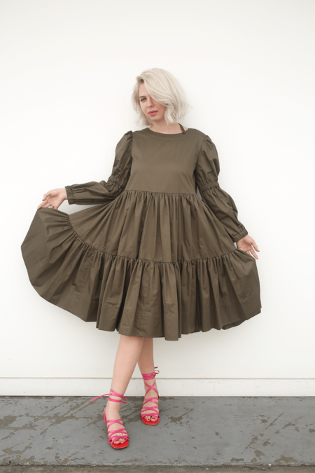 Molly Goddard Gathered Tiered Dress w/ Puffed Sleeve - Olive