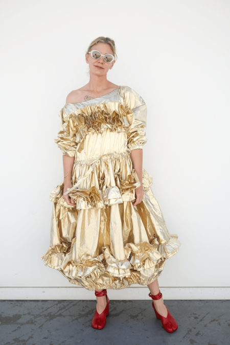 Molly Goddard Off Shoulder Dress w/ Frills - Gold