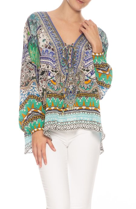 CAMILLA Lace Up Blouse - EVERLASTING UDAIPUR