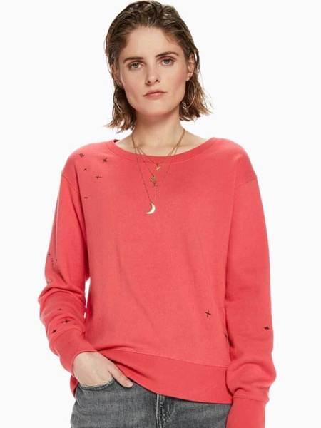 Maison Scotch Embroided Sweater - Raspberry
