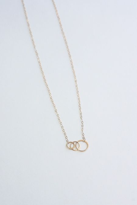 Melissa Joy Manning Necklace with Three Graduated Hammered Rings - 14K Gold