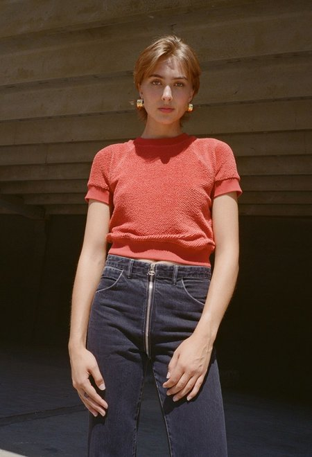 Lorod Raglan Sleeve Terry T-Shirt - rust
