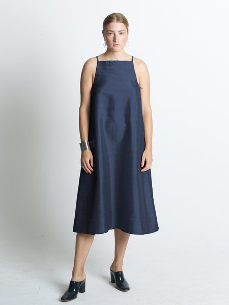 Beth Yard Dupioni Dress - Navy