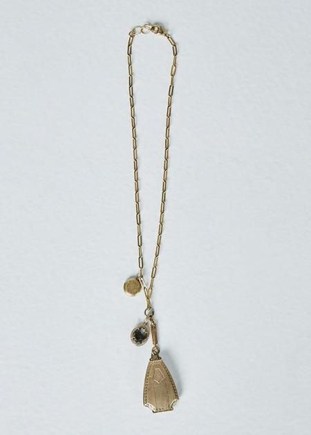 Jewels by Piper Antique Lockets and druzy Necklace - gold/diamond