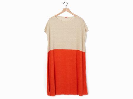 A Punto B Linen Dress - Flax/Orange