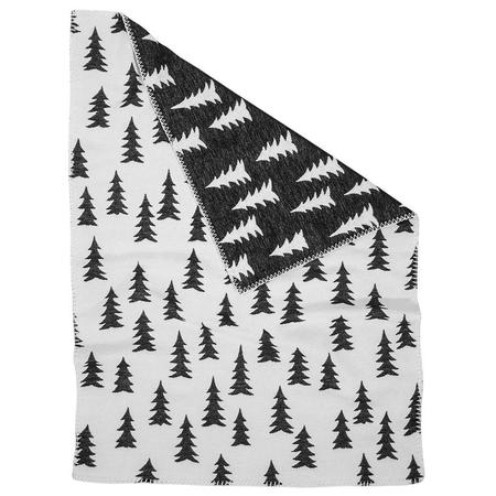 Kids Fine Little Day Gran Woven Blanket - White/black, white trim
