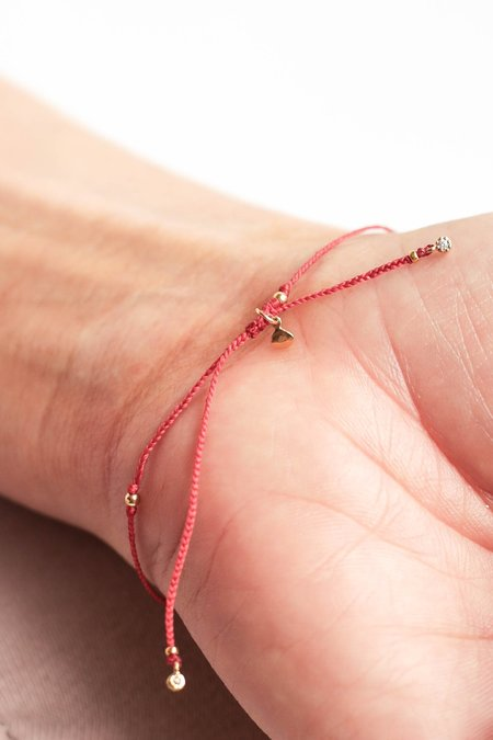 Tai Braided Nylon with Mini Enamel Evil Eye Bracelet - RED