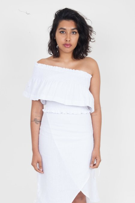 SIR the Label Ines One Shoulder Top - White