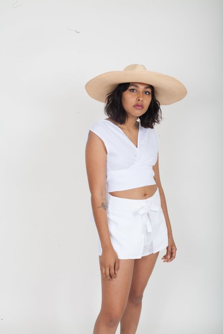 SIR the Label Ines Tie Mini Short - White