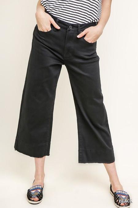 American Fit High Waist Wide Leg Cropped Jean - Black