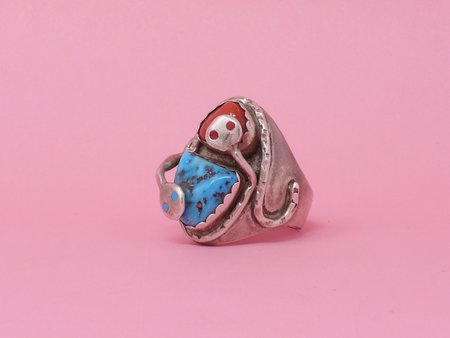 Queen City General Store Vintage Turquoise & Coral Effie Snake Ring