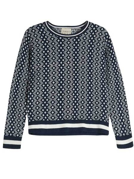 Jumper 1234 Fisherman Knit - Navy and Cream