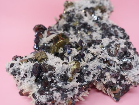 Queen City General Store Chalcopyrite on Calcite
