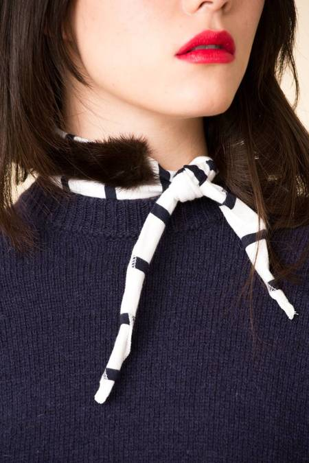 Donni. Fur Gigi Scarf - NAVY STRIPE/MINK