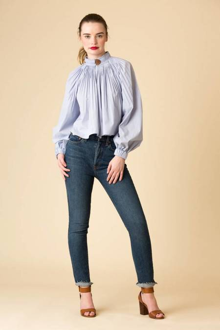 Tibi Isabelle Shirting Cropped Edwardian Top - BLUE/MULTI