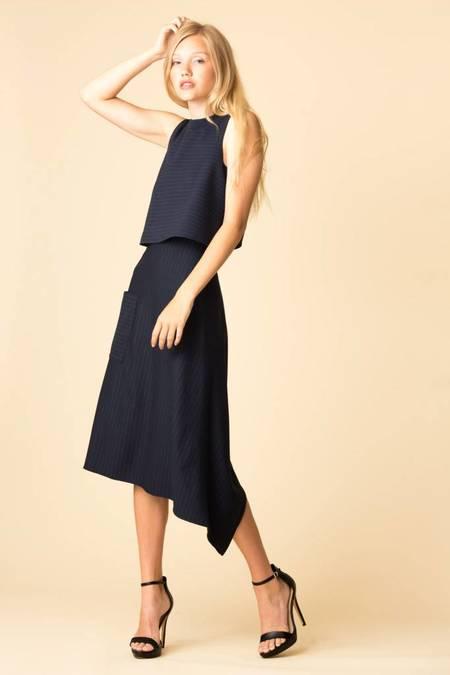 Tibi Pinstripe Knit Origami Skirt - NAVY/MULTI