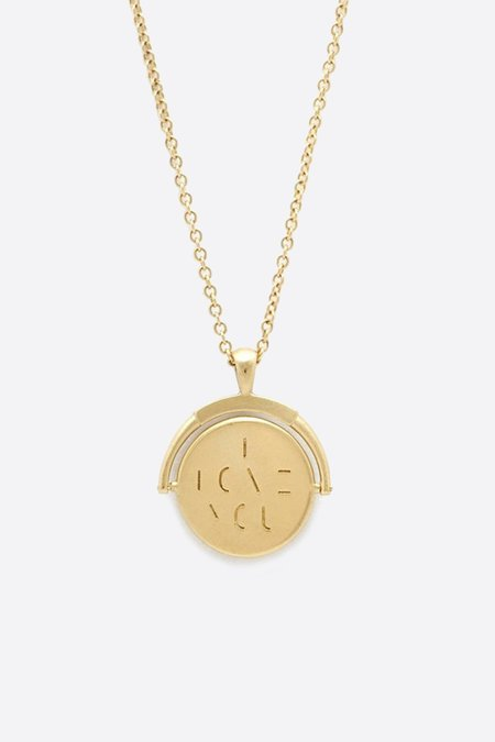 """Tony Malmed Jewelry """"I Love You"""" Spinner Necklace - Gold"""