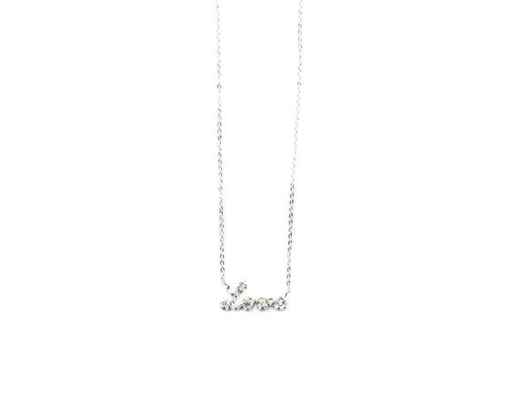 E.M. Silver Textured Cursive Love Necklace