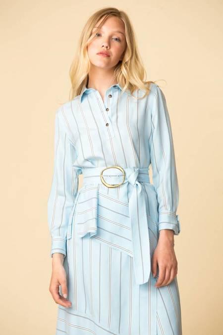 Derek Lam L/S Belted Asymmetrical Shirt - Aqua