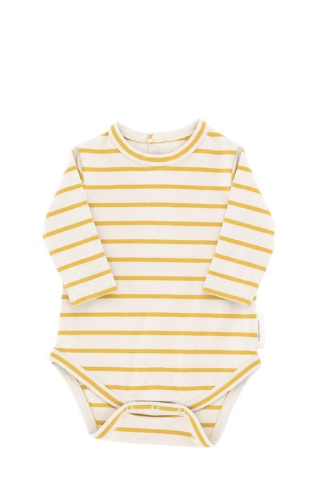 Kids Tinycottons Small Stripes Long Sleeve Body - Beige/Mustard