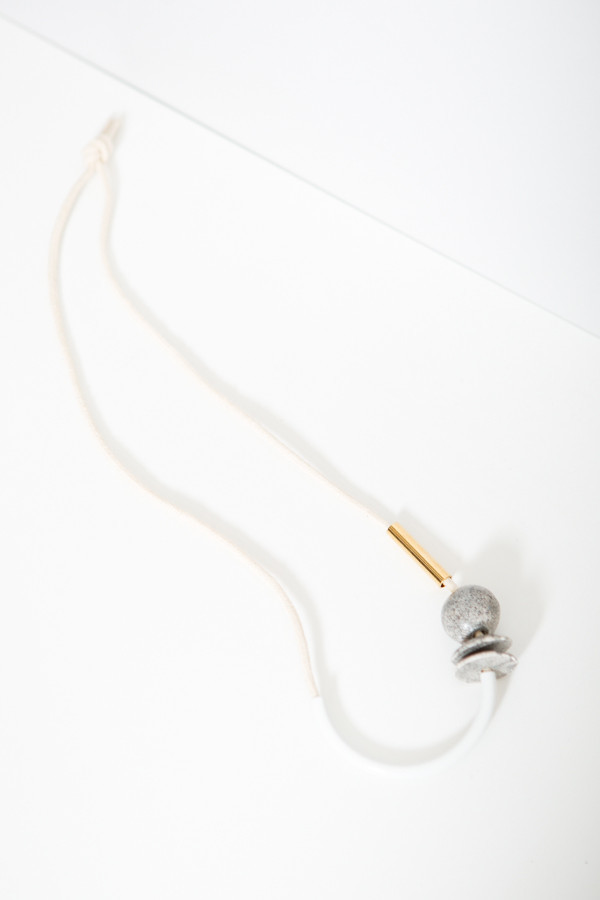 Chock a Block White Gold Ceramic Necklace