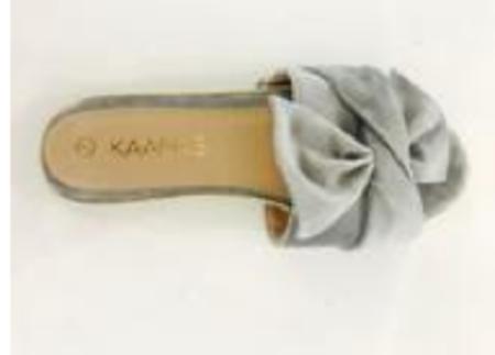 KAANAS Sausalito Velvet Bow Slide - GREY