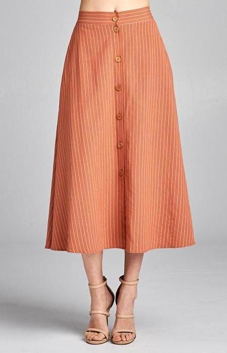 Ellison Little House Skirt - Terracotta Stripe