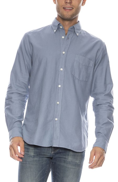 Hartford Paul Pat Heather Flannel Button Down Shirt - SKY